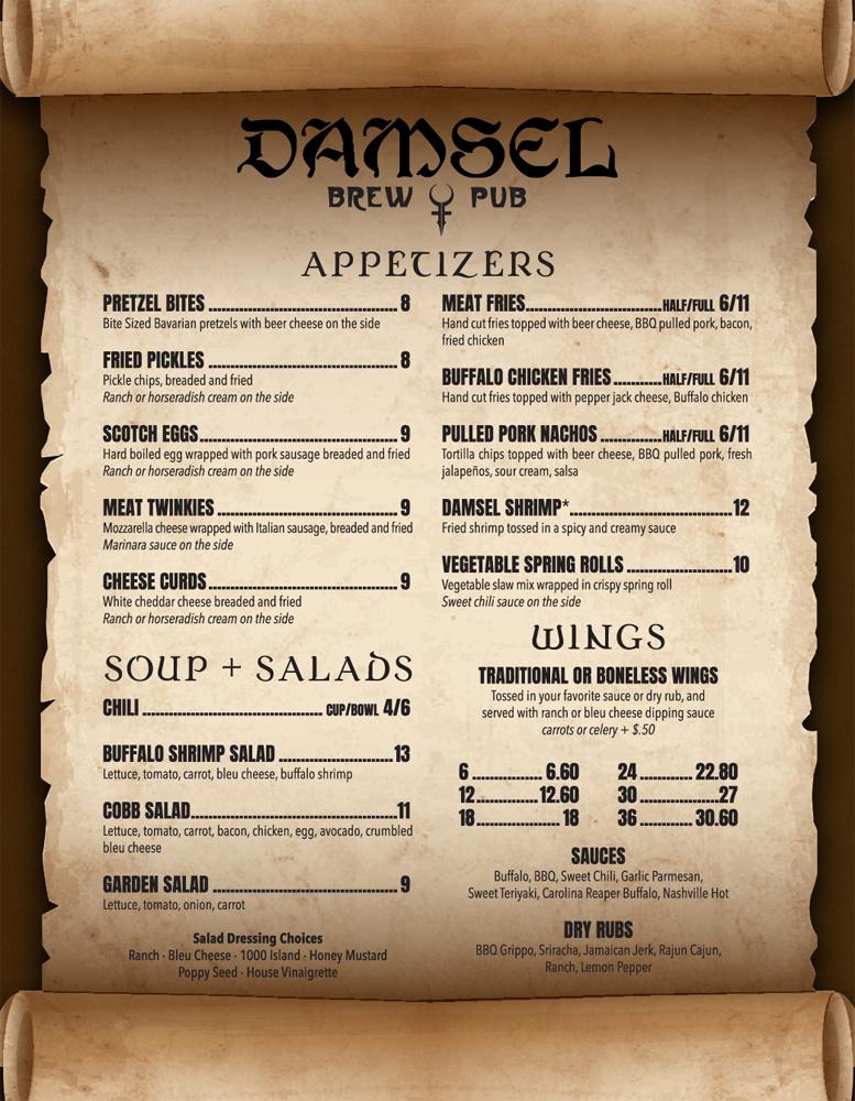 Damsel Brew Pub Food Menu 1